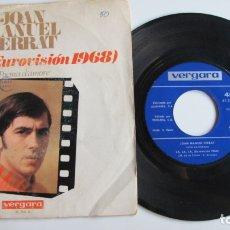 Discos de vinilo: JOAN MANUEL SERRAT - LA, LA, LA - EUROVISION 1968- RARO - VERGARA 1968. Lote 178922678