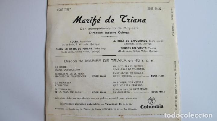 Discos de vinilo: MARIFE DE TRIANA / SOLEA + 3 TEMAS EP 1961 - Foto 2 - 178924827