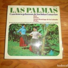 Discos de vinilo: LAS PALMAS. CANCIONES Y DANZAS DE LAS ISLAS CANARIAS. HISPAVOX, 1966. EP. IMPECABLE. Lote 178929428