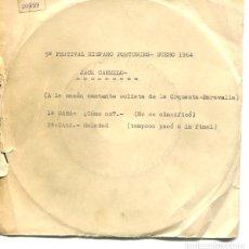 Discos de vinilo: JACK CARMELO / ¿COMO NO? / SOLEDAD (5º FESTIVAL HISPANO-PORTUGUES DUERO 1964) SINGLE PROMO. Lote 178933860
