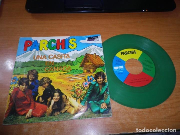 PARCHIS UNA CASITA EN CANADA / AL ALBA SINGLE VINILO 1980 TINO FERNANDEZ VINILO VERDE 2 TEMAS (Música - Discos - Singles Vinilo - Música Infantil)