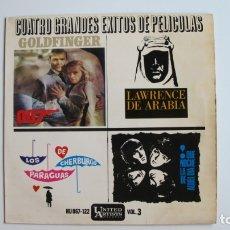 Discos de vinilo: DISCO CUATRO GRANDES EXITOS DE PELICULAS. Lote 178946806