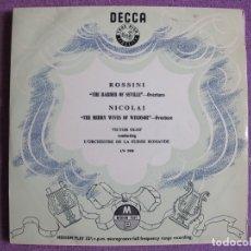 Discos de vinilo: 10 PULGADAS - ROSSINI-THE BARBER OF SEVILLA / NICOLAI - THE MERRY WIVES OF WINDSOR. Lote 178961667