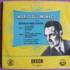 Discos de vinilo: 10 PULGADAS - MARIO DEL MONACO - RECITAL DE VERDI Y PUCCINI (SPAIN, DECCA SIN FECHA). Lote 178961866