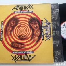 Discos de vinilo: ANTHRAX - STATE OF EUPHORIA - LP ISLAND ESPAÑA 1988 // TRASH METAL HEAVY . Lote 178962131