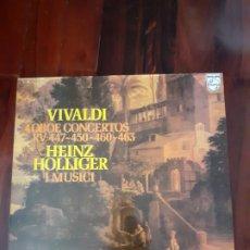 Discos de vinilo: VIVALDI, HOLLIGER, OBOE CONCERTOS, RV 447-450-460-463. Lote 179026196