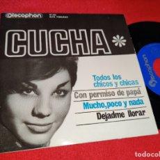 Discos de vinil: CUCHA TODOS LOS CHICOS Y CHICAS/CON PERMISO DE PAPA/DEJADME LLORAR +1 EP 1963 DISCOPHON. Lote 179079633