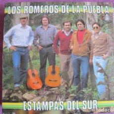 Discos de vinilo: LP - SEVILLANAS - LOS ROMEROS DE LA PUEBLA - ESTAMPAS DEL SUR (SPAIN, HISPAVOX 1983). Lote 179089928