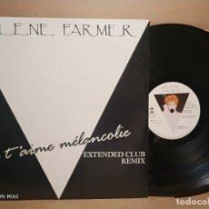 Discos de vinilo: MYLENE FARMER JE T'AIME MELANCOLIE EXTENDED CLUB REMIX EDC. MUY RARA . Lote 179106397