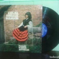Discos de vinilo: LP COLUMBIA 1973 ADELINA GONZALEZ BARAGAÑO FOLKLORE DE ESPAÑA ASTURIAS TONADA. Lote 179119616
