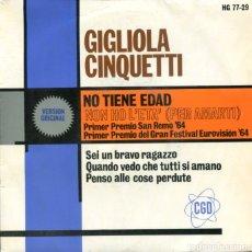 Discos de vinilo: GIGLIOLA CINQUETTI / NON HO L'ETA (PER AMARTI) EUROVISION 1964 + 3 (EP 1964). Lote 179130853