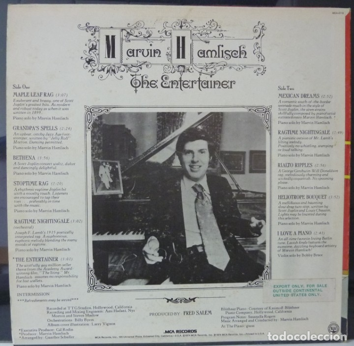 Discos de vinilo: MARVIN HAMLISCH // THE ENTERTAINER //1974// MADE IN USA// (VG VG). LP - Foto 2 - 179136622