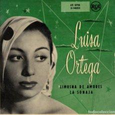 Discos de vinilo: LUISA ORTEGA - LIMOSNA DE AMORES - LA SONAJA - SG AÑOS 50. Lote 179164075