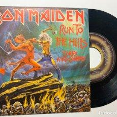 Discos de vinilo: SINGLE EP VINILO IRON MAIDEN RUN TO THE HILLS CORRE A LAS COLINAS EDICION ESPAÑOLA DE 1982. Lote 179165707