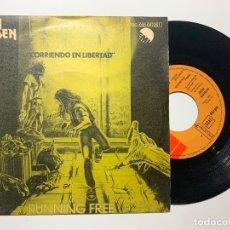 Discos de vinilo: SINGLE EP VINILO IRON MAIDEN RUNNING FREE CORRIENDO EN LIBERTAD EDICION ESPAÑOLA DE 1980. Lote 179166506