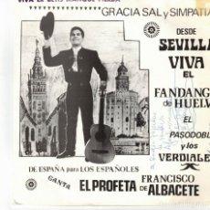 Discos de vinil: FRANCISCO MORENO- EL PROFETA DE ALBACETE- - VIVA EL DEPORTE ANDALUZ, VIVA EL BETIS. Lote 179172276