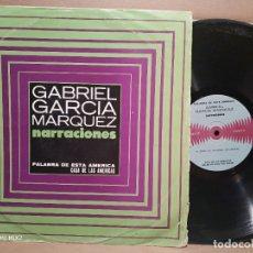 Discos de vinilo: GABRIEL GARCÍA MÁRQUEZ NARRACIONES CASA DE LAS AMÉRICAS LP. Lote 179176147