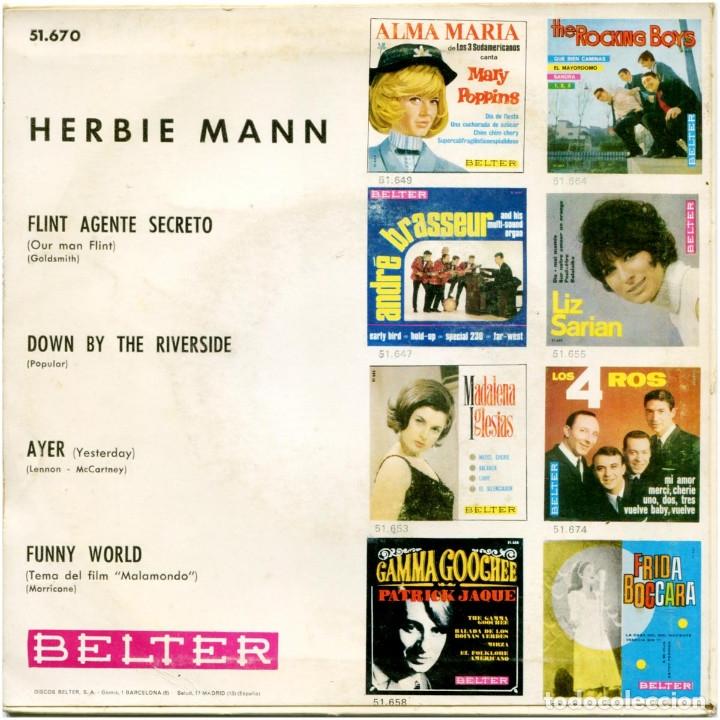 Discos de vinilo: Herbien Mann - Flint Agente Secreto (Our Man Flint) - Ep Spain 1966 - Belter 51.670 - Beatles - Foto 2 - 179203203