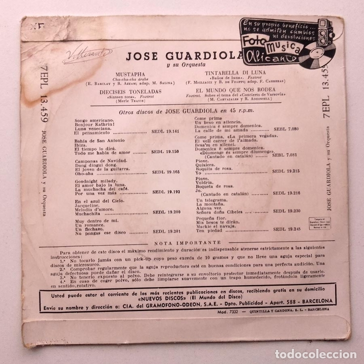 Discos de vinilo: 1960, Jose Guardiola, Mustapha, Disco Azul - Foto 2 - 179212766