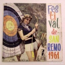Discos de vinilo: FESTIVAL SAN REMO 1961, TONY DALLARA. Lote 179212838