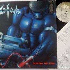 Discos de vinilo: SODOM - TAPPING THE VEIN - LP ALEMAN CON ENCARTE 1992 - STEAMHAMMER. Lote 179217981