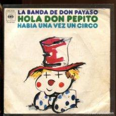 Discos de vinilo: LA BANDA DE DON PAYASO. HOLA DON PEPITO. CBS 1973 SP. Lote 179310151