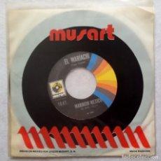 Discos de vinilo: MARIACHI MEXICO DE PEPE VILLA - GUADALAJARA / EL MARIACHI - SINGLE MEXICANO - MUSART. Lote 179324541