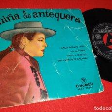 Discos de vinilo: NIÑA DE ANTEQUERA MARIA ROSA LEON/¡AY MI PERRO!/LLEGO EL FLORERO/VILLANCICOS DE CALAÑAS 7'' EP 1958. Lote 179338166