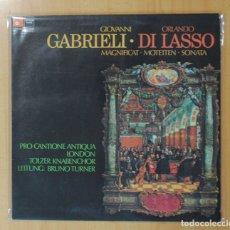 Discos de vinilo: GIOVANNI GABRIELI / ORLANDO DI LASSO - MAGNIFICAT MOTETTEN SONATA - LP. Lote 179384505