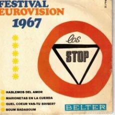 Discos de vinilo: LOS STOP ( FESTIVAL EUROVISION 1967) - HABLEMOS DEL AMOR + 3 - EP. Lote 212996583