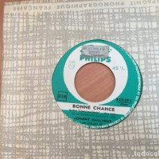 Discos de vinilo: JOHNNY HALLYDAY (BONNE CHANCE / JE T'ECRIS SOUVENT) SINGLE FRANCE JUKEBOX (EPI14). Lote 179540045
