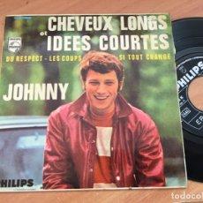 Discos de vinil: JOHNNY HALLYDAY (CABELLOS LARGOS E IDEAS CORTAS) EP ESPAÑA (EPI14). Lote 179541450