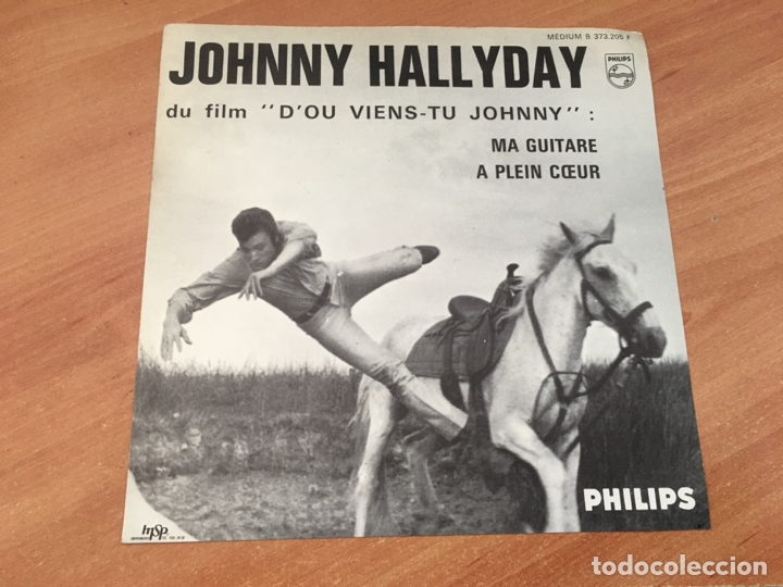 JOHNNY HALLYDAY D'OU VIENS-TU JOHNNY (MA GUITARE + A PLEIN COEUR) SINGLE FRANCE SOLO COVER (EPI14) (Música - Discos de Vinilo - EPs - Pop - Rock Extranjero de los 70	)