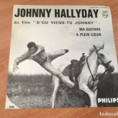 Discos de vinilo: JOHNNY HALLYDAY D'OU VIENS-TU JOHNNY (MA GUITARE + A PLEIN COEUR) SINGLE FRANCE SOLO COVER (EPI14). Lote 179542797