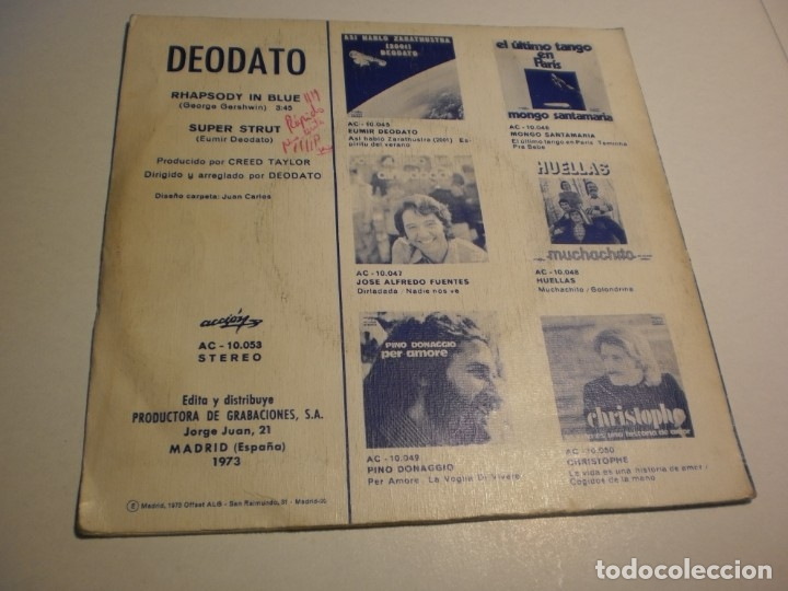 Discos de vinilo: single eumir deodato rhapsody in blue. super strut. accion 1973 spain (probado y bien) - Foto 2 - 179557371