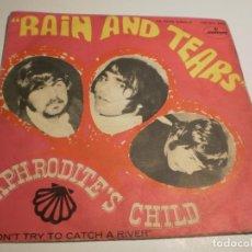 Discos de vinilo: APHRODITE'S CHILD (DEMIS ROUSSOS) RAIN AND TEARS. DON'T TRY CATCH A RIVER MERCURY 1968 (PROBADO). Lote 179557877