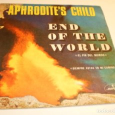 Discos de vinilo: APHRODITE'S CHILD (DEMIS ROUSSOS) END OF THE WORLD. YOU ALWAYS STAND IN MY WAY MERCURY 1968 (PROBADO. Lote 179557967