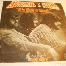Discos de vinilo: APHRODITE'S CHILD (DEMIS ROUSSOS) IT'S FIVE O'CLOCK. FUNKY MARY. MERCURY 1970 (PROBADO Y BIEN). Lote 179558040