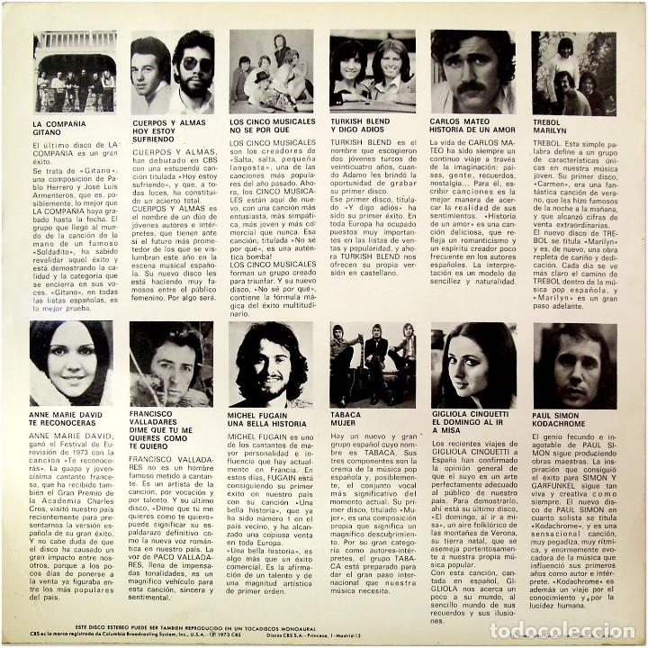 Discos de vinilo: VVAA (Cuerpos y Almas, Tabaca, Trebol...) - Promocional 1 - Lp promo Spain 1973 - CBS - Foto 2 - 179558192