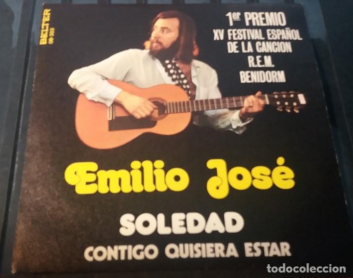 EMILIO JOSE. SOLEDAD Y CONTIGO QUISIERA ESTAR. PREMIO FESTIVAL BENIDORM. BELTER 1973. MUY BIEN CONSE (Música - Discos - Singles Vinilo - Otros Festivales de la Canción)