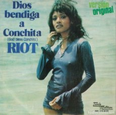 Discos de vinilo: RIOT - GOD BLESS CONCHITA / SONG OF LONG AGO (SINGLE ESPAÑOL, TAMLA MOTOWN 1974). Lote 179950385