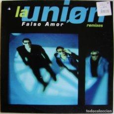 Discos de vinilo: LA UNIÓN-FALSO AMOR (REMIXES), WEA, FRESH FISH RECORDS FFMX 08 (M). Lote 180020765