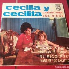 Discos de vinilo: CECILIA Y CECILITA. CARA SUCIA, OREJAS DE BURRITO, RICO PURE Y NANA DE LOS ANGELITOS. PHILIPS 1965.. Lote 180031241
