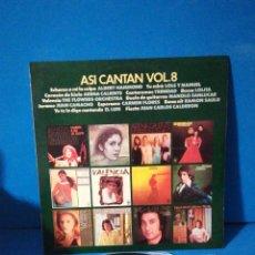 Discos de vinilo: LP - ASÍ CANTAN VOL. 8. Lote 180032825