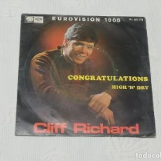 Discos de vinilo: SINGLE: CLIFF RICHARD (CONGRATULATIONS / HIGH 'N' DRY) · EUROVISION 1968 -LA VOZ DE SU AMO-EMI, 1968. Lote 180074177
