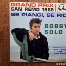 Discos de vinilo: BOBBY SOLO - SAN REMO 1965 - SE PIANGI, SE RIDI + NON MI AVRAI MAI + NON SAPRAI MAI + IN FONDO AGLI . Lote 180166846