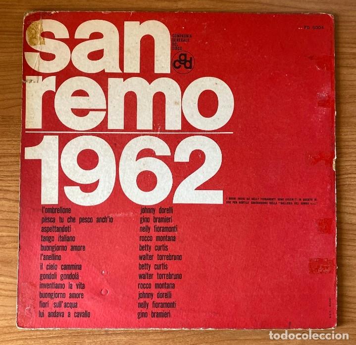 Discos de vinilo: San Remo 62: Betty Curtis, Johnny Dorelli,Gino Bramieri, Nelly Fioramonti, Torrebruno Rocco Montana - Foto 2 - 180188173