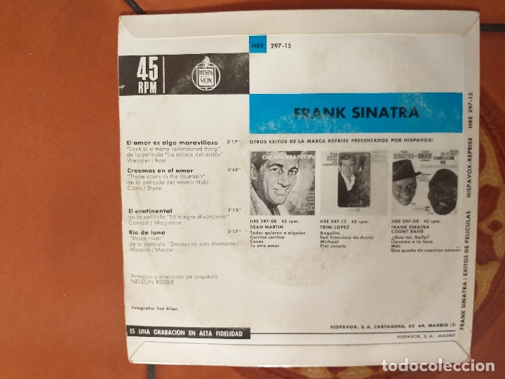 Discos de vinilo: EP. FRANK SINATRA. EL AMOR ES ALGO MARAVILLOSO+3 - Foto 2 - 180191140