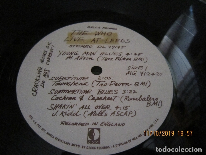 Discos de vinilo: THE WHO - LIVE AT LEEDS LP - ORIGINAL U.S.A. - DECCA RECORDS 1970 - GATEFOLD COVER - - Foto 15 - 180191348