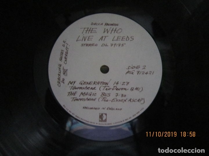 Discos de vinilo: THE WHO - LIVE AT LEEDS LP - ORIGINAL U.S.A. - DECCA RECORDS 1970 - GATEFOLD COVER - - Foto 18 - 180191348